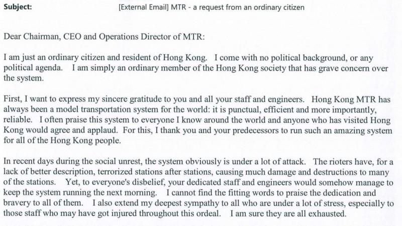 港铁总裁:暴乱让我们经受40年来最大冲击