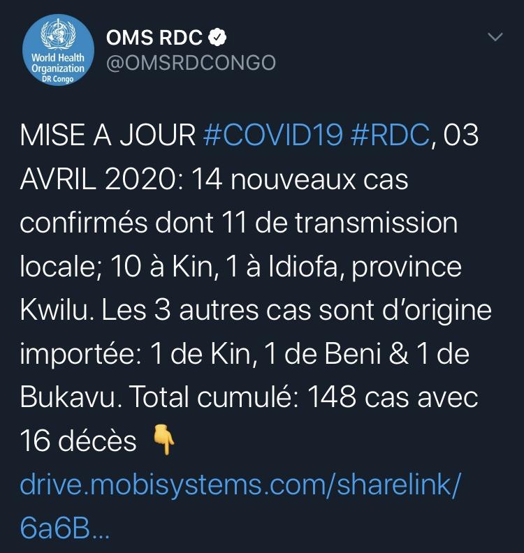 刚果新增14例新冠肺炎确诊病例 累计148例